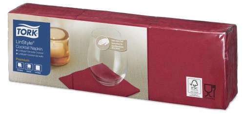Tork Premium LinStyle® Burgunder Cocktailserviett