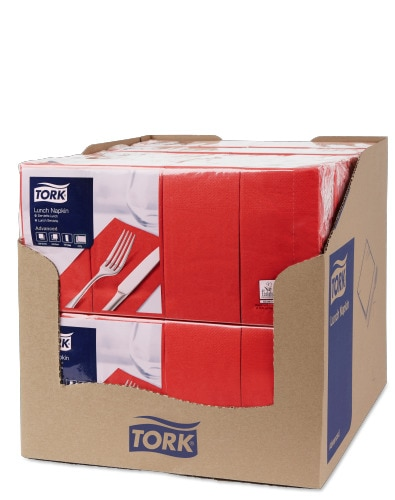 Tork Red Lunch Napkin 1/8 Folded