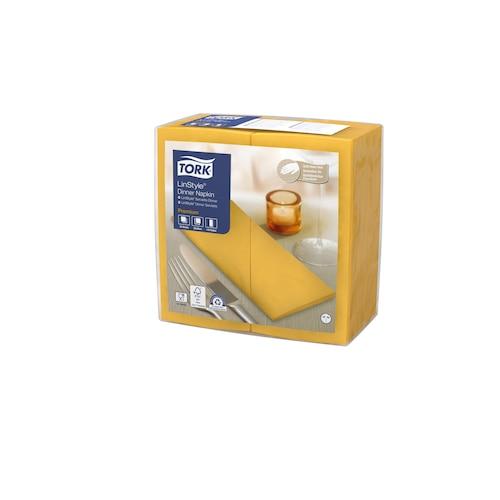 Tork Premium LinStyle® Mustard Dinner Napkin 1/8 Folded