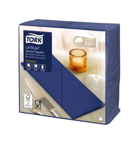 Tork Premium Linstyle® Serviette Dinner, Bleu nuit, pliage 1/8