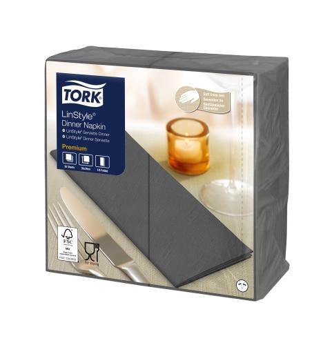 Tork Premium LinStyle® tummanharmaa Dinner-lautasliina 1/8-taitto