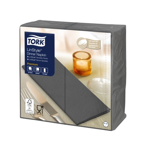 Tork Premium Linstyle® Anthracite Dinner Napkin 1/8 Folded