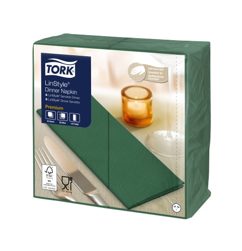 Tork Premium Linstyle® Mountain Pine Green Dinner Napkin 1/8 Folded