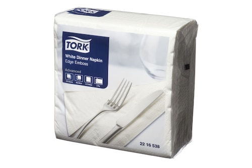 Tork®  White Edge Emboss Quarterfold Dinner Napkin 2 ply