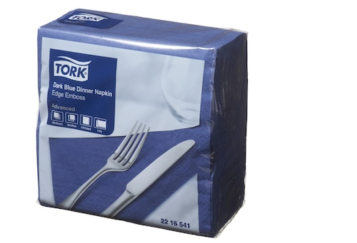 Tork® Dark Blue Edge Emboss Quarterfold Dinner Napkins 2 Ply