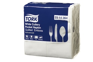 Tork Quilted White Cutlery Pocket Napkin