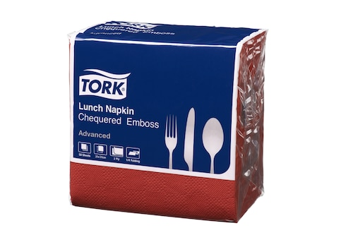 Tork® Red Chequered Emboss Quaterfold Dinner Napkin 2 Ply
