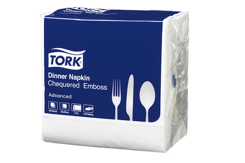 Tork®  White Chequered 8 fold Dinner Napkin 2 Ply