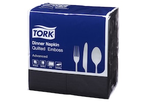 Tork Quilted Black Dinner Napkin