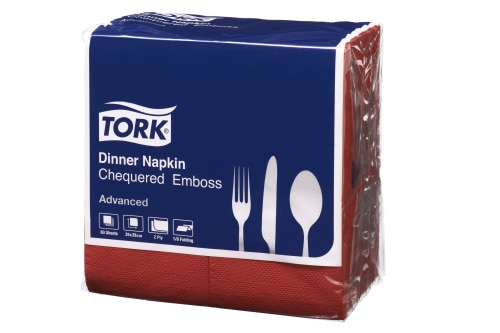 Tork®  Red Chequered Emboss Dinner 8 Fold  Napkin 2 Ply