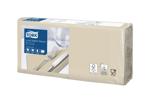 Tork Natural Environmental Print Lunch Napkin 1/4 Folded