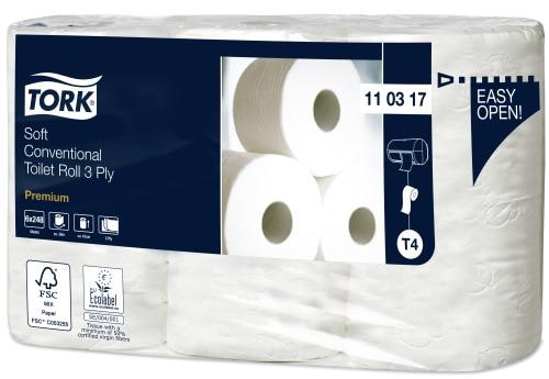 """""""Tork Conventional Premium"""" minkšto 3 sluoksnių tualetinio popieriaus įprastinis ritinėlis"""
