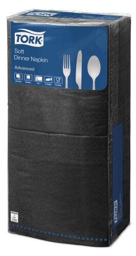 Tork®  Soft Black  Edge Emboss Quaterfold Dinner Napkin 3 Ply