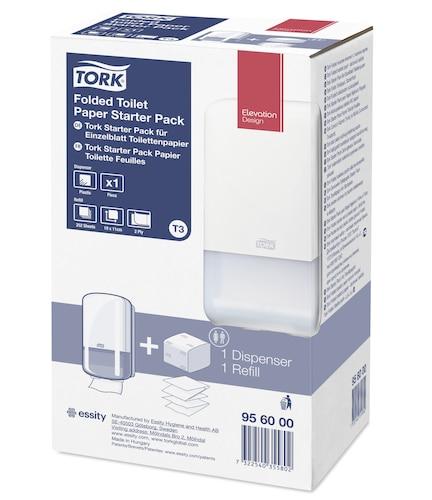 Tork Starter Pack Distributeur pour Papier toilette feuille à feuilleC&C