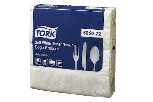 Tork® Soft Edge Emboss Quarterfold White Dinner Napkin 3 Ply