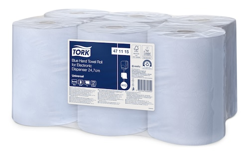 «Tork» zila papīra dvieļu rullis elektroniskajam dozatoram, 24,7cm