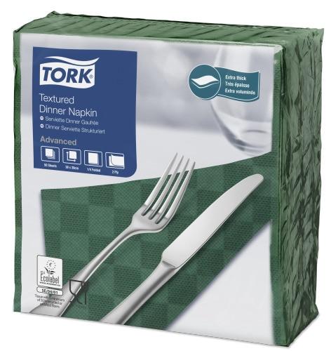 """""""Tork"""" tamsiai žalios vakarienės servetėlės su iškiliuoju raštu"""