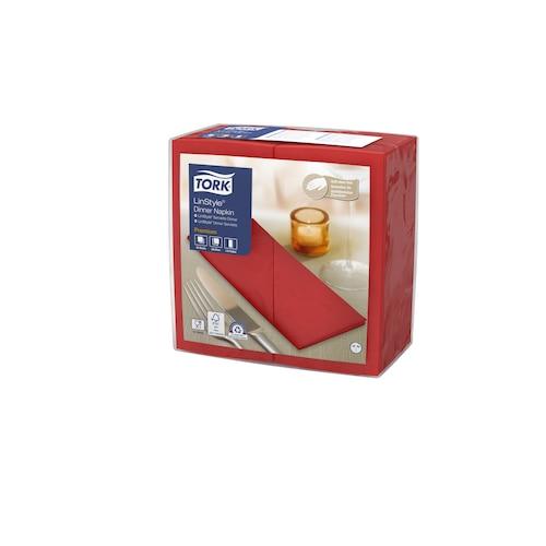 Tork LinStyle® Middagsservett Röd 1/8-vikt