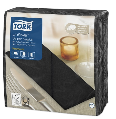 Tork Premium LinStyle® fekete Dinner szalvéta, 1/8 hajtogatás