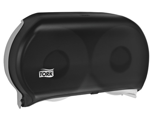 Tork Twin Jumbo Bath Tissue Roll Dispenser, 9 inch, Smoke