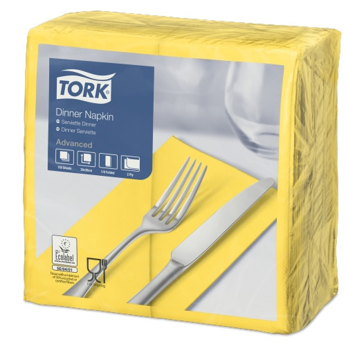 Tork Yellow Dinner Napkin 1/8 Folded