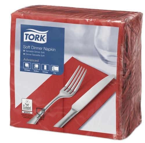 Tork Soft Red Dinner Napkin 1/8 Folded