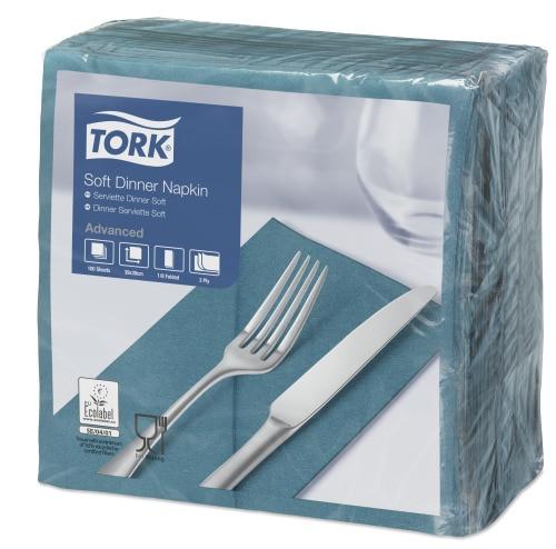 Tork Soft Blue Green Dinner Napkin 1/8 Folded