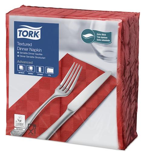 Tork Textured Dinnerserviette Rot 1/8 Falz