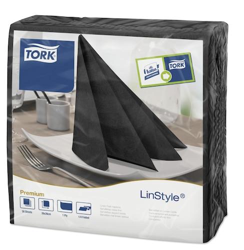 Tork® Linstyle Black Quaterfold Dinner Napkin