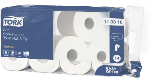 Мягкая туалетная бумага Tork Premium в стандартных рулонах, 3 слоя