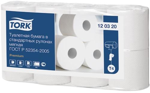 Мягкая туалетная бумага Tork Premium в стандартных рулонах, 2 слоя