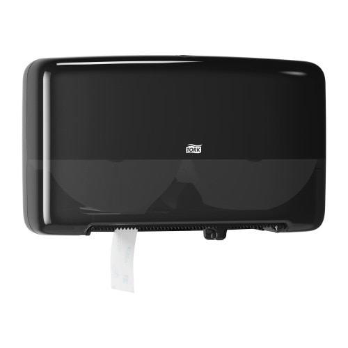 Tork Twin Mini Jumbo Toilet Roll Dispenser Black