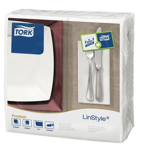 Tork®  LinStyle White 8 Fold Dinner Napkin