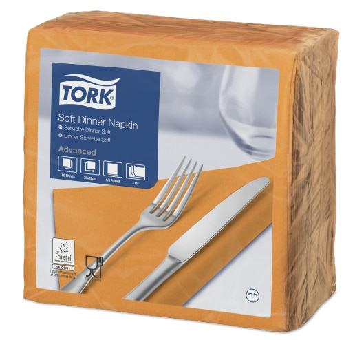 """""""Tork"""" minkštos oranžinės vakarienės servetėlės"""