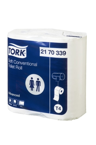 Tork®  Soft Conventional Toilet Roll 400sh 4pk Advanced
