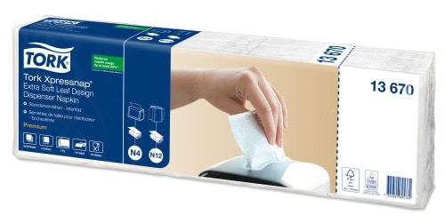 Tork Xpressnap® Extra Soft Leaf Design White Dispenser Napkin