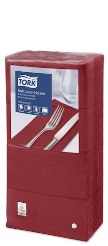Tork Soft Lunchservietten Bordeauxrot 1/8-Falz