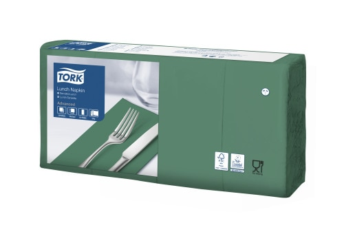 Tork Soft Dark Green Lunch Napkin 1/8 Folded