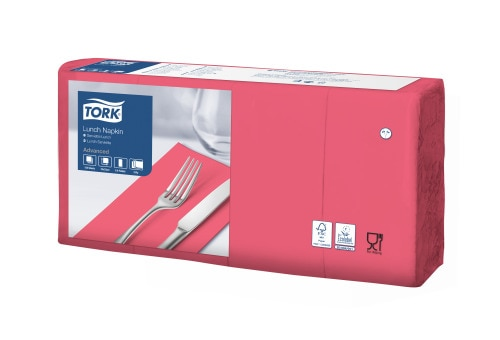 Tork Soft Red Lunch Napkin 1/8 Folded