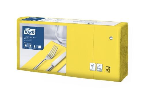 """""""Tork"""" sulankstytos (1/8) geltonos pietų servetėlės"""